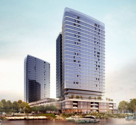 An artist's impression of the first towers for Belmont Racecourse, which would be 32 and 27 storeys high. Picture: Hassell