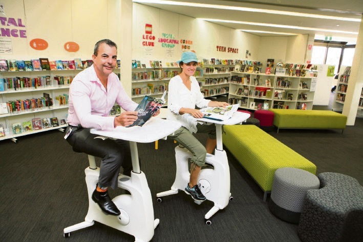 Stirling Mayor Mark Irwin library member Mandy Murphy at Karrinyup Library.