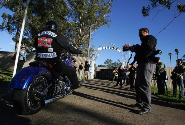 Rebels bikie gang arrive for a meeting at the Rebel's Clubhouse. Picture: File Image/Sergio Dionisio/Getty Images
