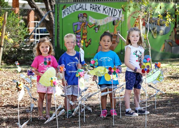 McDougall Kindy students Grace Maughan (4), Robbie Brooks (3), Danielle Tapuosi (4) and Eden Colyer (4) have been making flowers out of egg cartons for the free community event. Picture: David Baylis