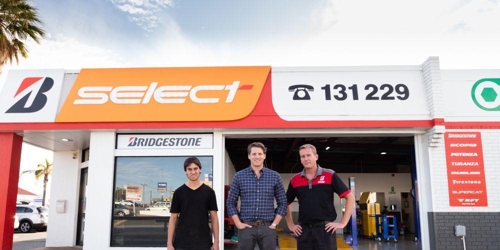 Canning MHR Andrew Hastie with Adam Lewis from Bridgestone Select Mandurah and apprentice Mitchell Herring.