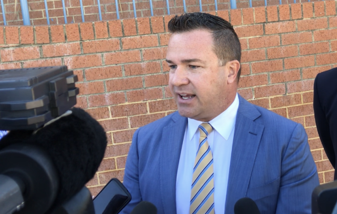 Former Joondalup Mayor Troy Pickard outside court. Picture: Tyler Brown