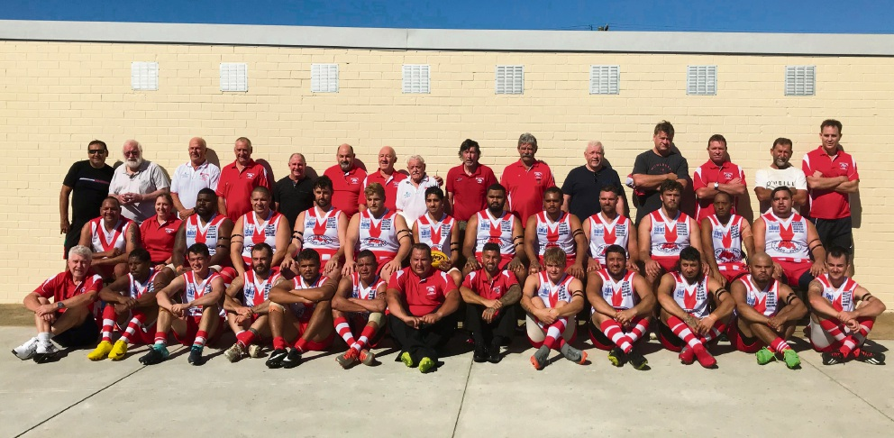 Past and current Innaloo Bulldogs players at the round 1 match. Photo: Tyler Brown