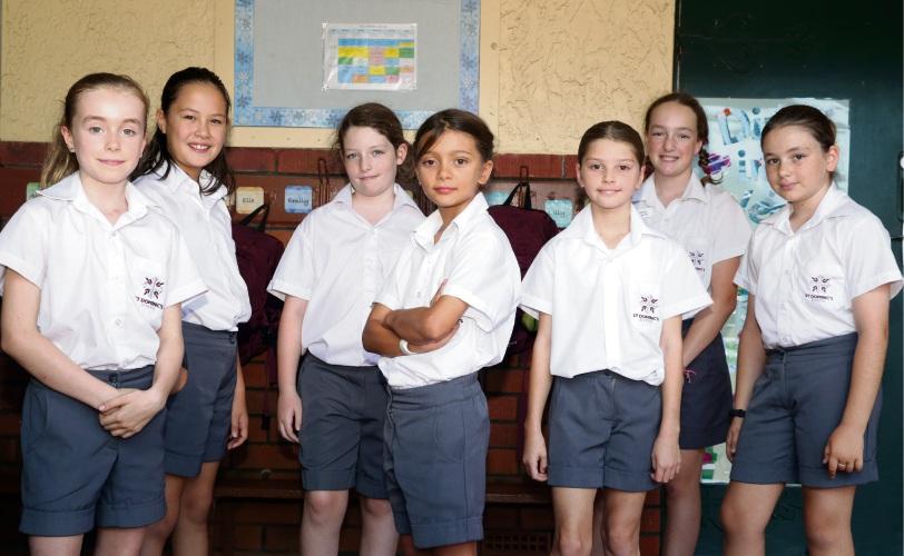 Josie Moran (y4), Arya Sims (y4), Charlotte Ryan (y4), Imogen Atkins (y4), Saige Riolo (y4), Harriette Berg (y6) and Ava Corke (y6). Photo: Martin Kennealey