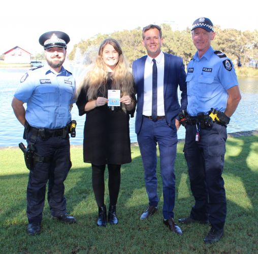 Senior Constable Scott Clugston, Blow Zero Hero winner Neo Tandy, Mayor Rhys Williams and Senior Constable Brad Wood.