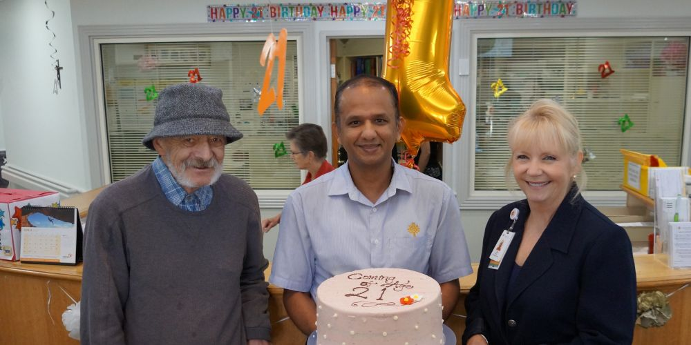 Patient John Williamson, Nurse Unit Manager Ajith Rajagopal and St John of God Mt Lawley Hospital CEO Chris Hanna. Picture: Supplied.
