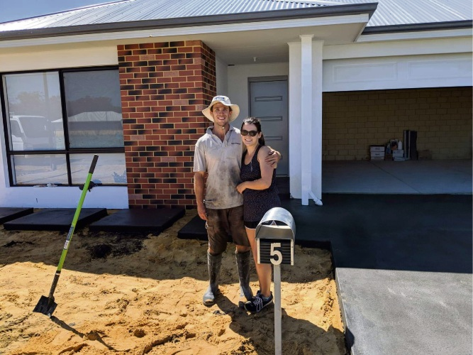 Jamie Fowler and Kerry Burrows are the first homebuyers at 545 Baldivis land estate.