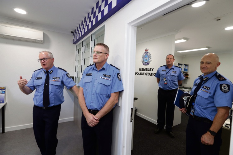 Police Commissioner Chris Dawson (left) and his senior officers in the upgraded Wembley station. Picture: Martin Kennealey.
