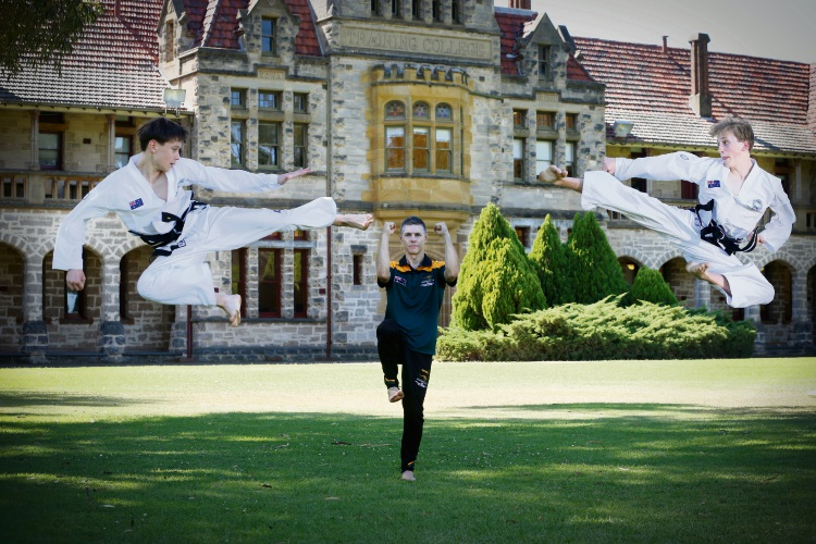 Paul Raymond, Perth Modern student Aiden Duryea (15) and St Georges Anglican Grammar School student Isaac Blackwell (16) will compete at the 2019 ITF Taekwon-Do World Championships in Germany. Picture: Andrew Ritchie www.communitypix.com.au   d492297