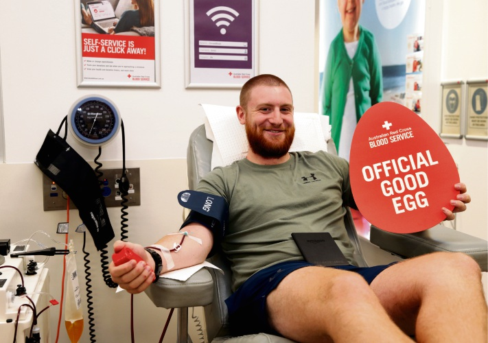 Brandon Bird makes a blood donation ahead of the Easter holidays. Picture: Martin Kennealey www.communitypix.com.au d492147