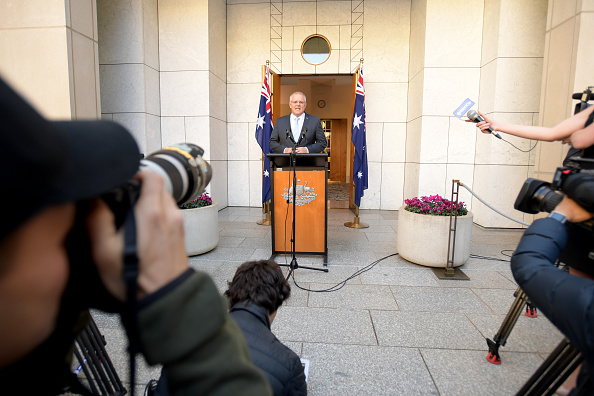 Prime Minister Scott Morrison announces the beginning of the federal election campaign after visiting the Governor General today to ask for an election on May 18. Picture: Getty Images