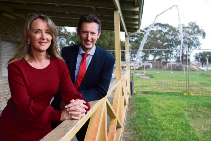 Labor candidate for Stirling Melita Markey with NSW MHR Stephen Jones at Robinson Reserve.