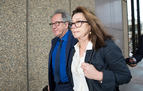 Geoffrey Rush leaves court with his wife Jane Menelaus on November 9, 2018 in Sydney, Australia. The three-week trial concluded today, with Justice Michael Wigney to deliver his verdict early next year. Geoffrey Rush is suing The Daily Telegraph for defamation over a series of articles that were published in late November and early December 2017 that alleged he behaved inappropriate during a 2015 stage production of King Lear. (Photo by Jessica Hromas/Getty Images)