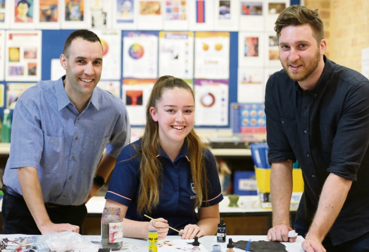 Main Roads project manager Steve Cole, St Stephen's School Carramar Year 11 student Lauren Tonner and ECU PhD candidate Harrison See.