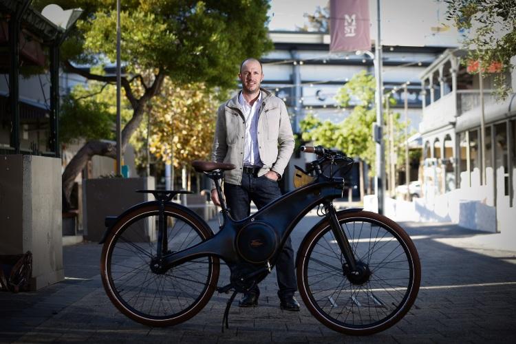 Julian Ilich as part of Tiller Rides has launched his E-bike. Photo: Andrew Ritchie. d492291 communitypix.com.au