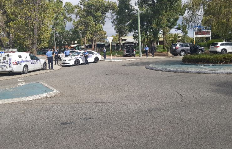 Police outside the high school this afternoon. Photo: 6PR/Twitter