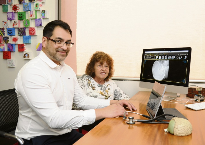 Neurologist Dr Julian Rodrigues with Parkinson's patient Trudy Drabarek
