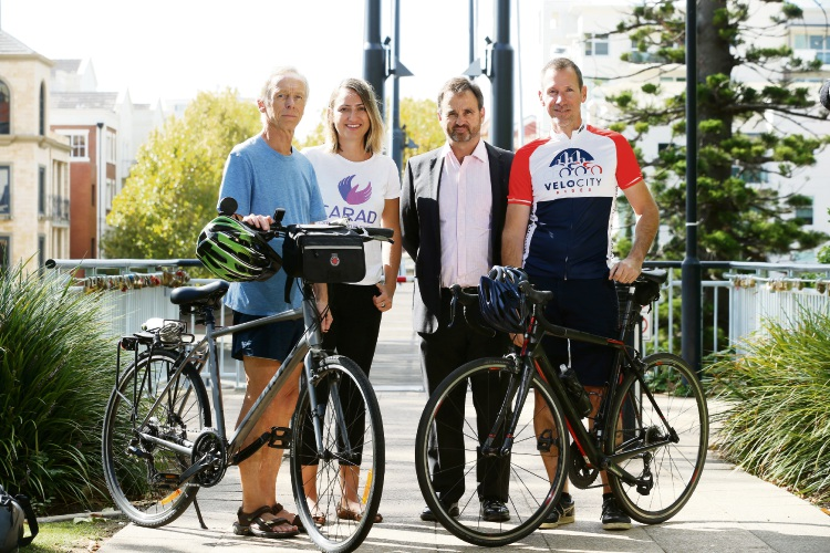 Michael Keane (Perth Charity Bike Tours), Joanna Josephs (GM CARAD), Damian Burton (Chairman Manna Inc) and Roy McPherson (Velocity Rides owner) Volunteers sought to take small groups of tourists around Perth on bikes Picture: Andrew Ritchie www.communitypix.com.au   d492157