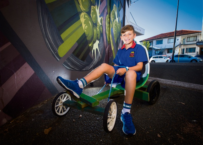 Local resident Henry Scholtz on a Billy Cart which is part of an activation during the Mt Hawthorn Festival on May 5th. Picture: Matt Jelonek www.communitypix.com.au   d492372