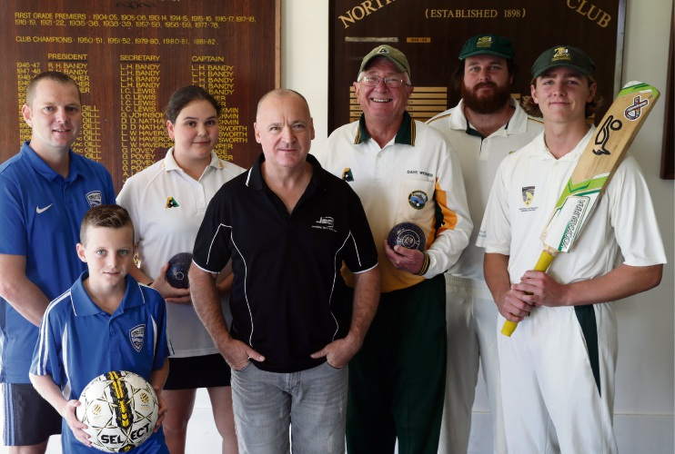 Chris Sanders and Dean Sanders (10) from Joondalup City Football Club, Ruby Leggett from Joondalup Bowling Club, Joondalup Sports Association president Julian Barley, Dave Webber from Joondalup Bowling Club, and Matt Farmer and Louis Crafford from Joondalup District Cricket Club. Picture: Martin Kennealey d492286