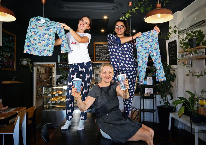 BACK L-R: Demi Aurisch and Georgia Wood.  FRONT: Merrellyn O'Callaghan (Owner, Garden Cafe on Guildford).  Garden Cafe on Guildford is gathering pyjamas from the community as part of a fundraiser. The pyjamas will go towards women''s refuge Orana House in the City of Bayswater. Picture: David Baylis www.communitypix.com.au   d492322