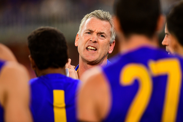 Adam Simpson fires up his players at three-quarter time. Photo: Getty