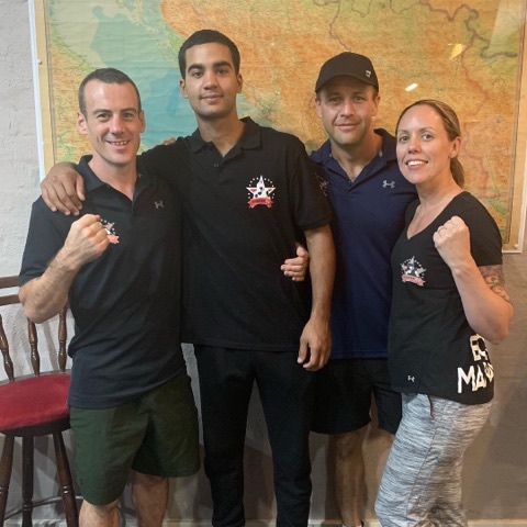 Fighter Fit Boxing & Fitness Mandurah owner Daniel Heyes with Tyler Naidoo, Bryce Savell and co-owner Kelly Heyes.