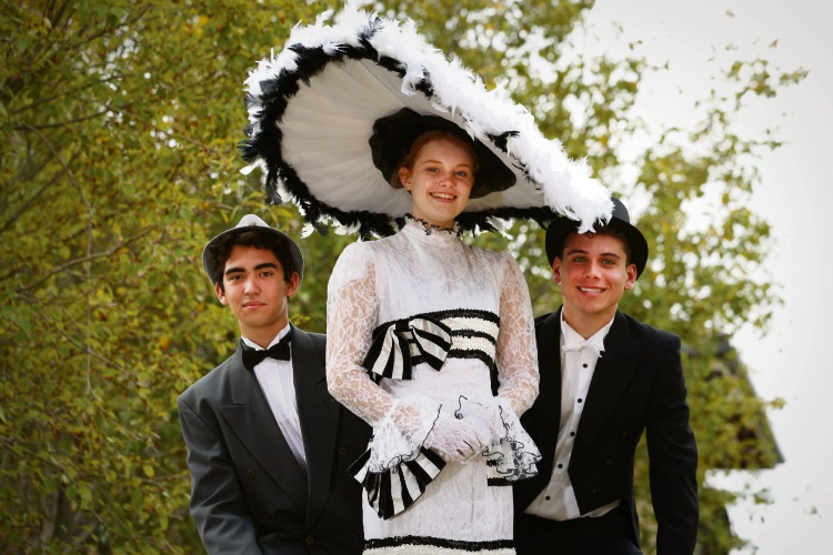 Y12 Hale student Dylan Kitney (Henry Higgins), Y12 MLC student Mia Beattie ( Eliza Doolittle,) and  Y12 Hale student  Tim Del Borrello (Col Pickering) Picture: Andrew Ritchie www.communitypix.com.au   d492326