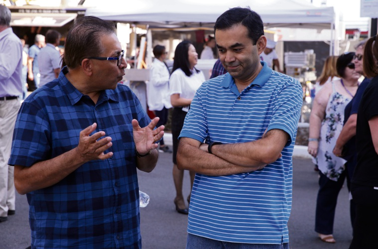 Employees Harish Kukadia and Harish Patel at the welcome party. Picture: Martin Kennealey d492441