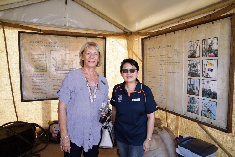 Judith Jacobs and Pic Lee Song welcome the Duyfken to AQWA. Pictures: Martin Kennealey d492442b