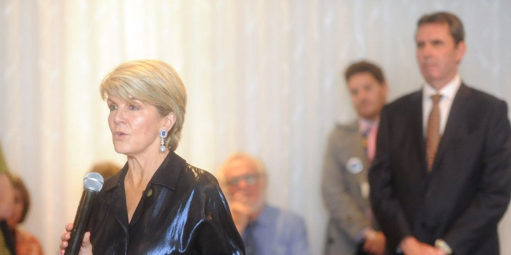 Ms Bishop, with North Metropolitan MLC Peter Collier in the background, warned about independent candidates. Pictures: Jon Bassett.