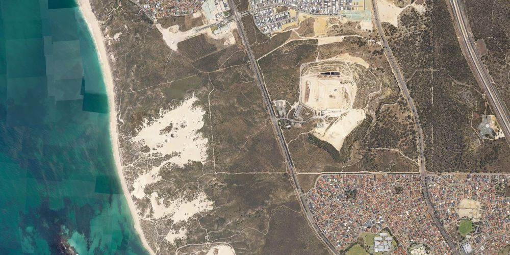 An aerial view of the bushland where the body was found.