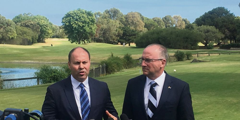 Federal Treasurer Josh Frydenberg and Swan MP Steve Irons at Collier Park Golf Course, where the South Perth aquatic centre is proposed to be built.