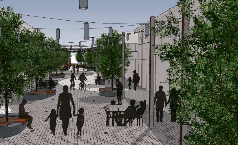 A concept drawing of the new Smart Street Mall.
