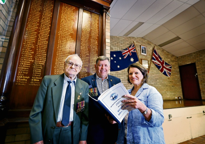 L-R: Bill Batten (Past President and member, Bedford-Morley RSL Sub-Branch), Russell Shearing-Jones (President, Bedford-Morley RSL Sub-Branch) and Lynn Deering (President, Bayswater Historical Society) seen here near the Roll of Honour board at the Bedford-Morley RSL Sub-Branch. Picture: David Baylis www.communitypix.com.au d492320