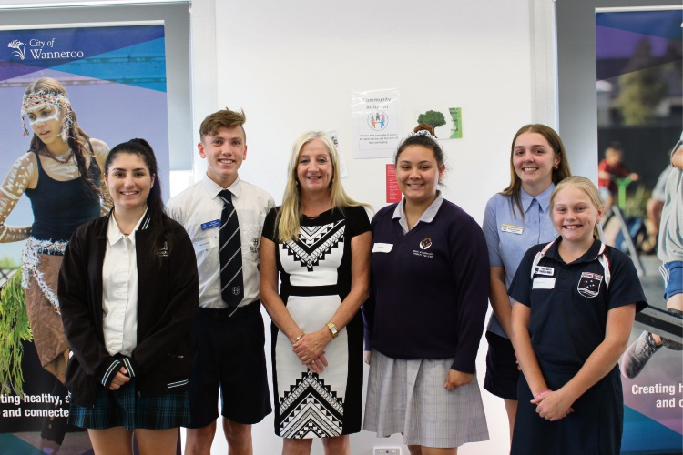 Wanneroo Mayor Tracey Roberts with Hannah (16, Joseph Banks College), Aiden (15, Butler College), Carly (14, Irene McCormack Catholic College), Shavelle (17, Yanchep Secondary College) and Isabelle (10, Quinns Beach Primary School).