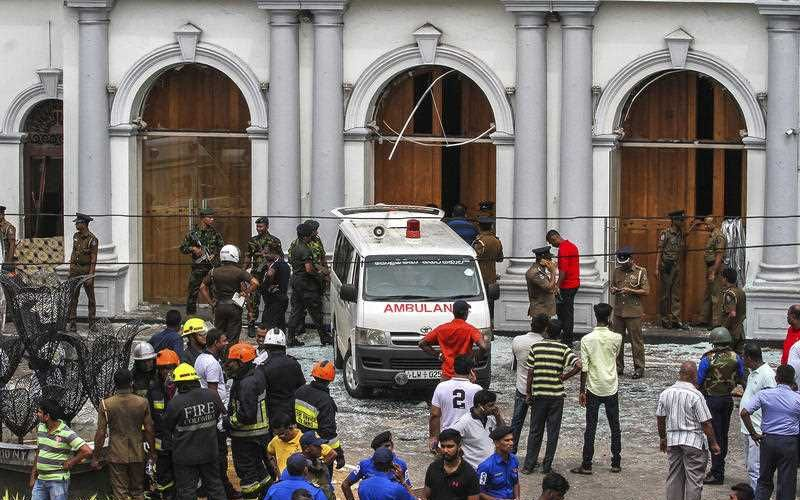 Sri Lankan Army soldiers secure the area around St. Anthony Shrine after a blast in Colombo, Sri Lanka. Picture: AP Photo/Chamila Karunarathne