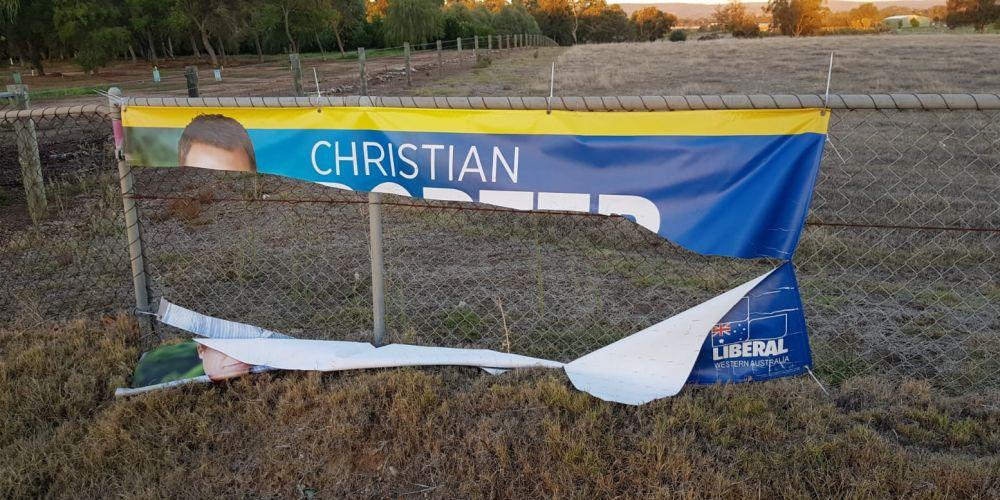 Christian Porter's federal election signs slashed