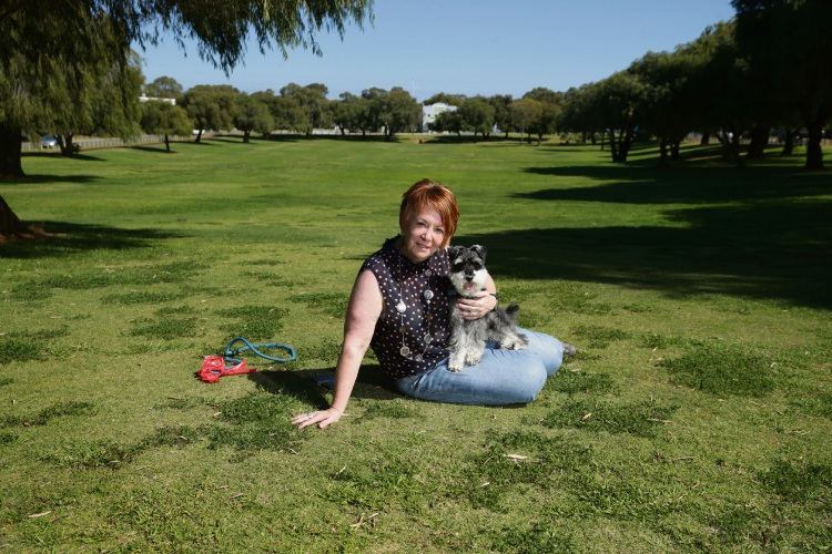 Noeleen Ottaviano and Digby at Elcar Park in Joondalup, which will soon be a dedicated dog park. Picture: Martin Kennealey d492603