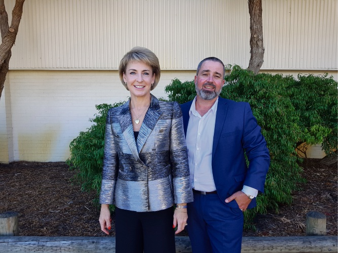 Federal Minister Michaelia Cash and Liberal candidate for Brand Jack Pleiter.