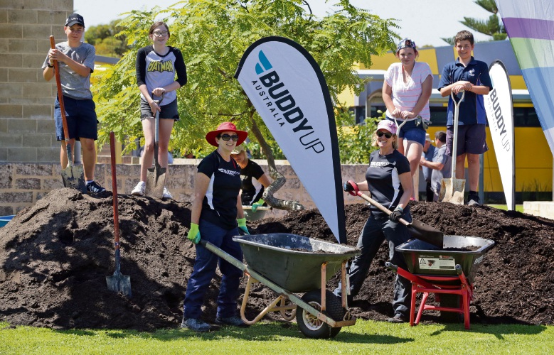 Julianne Gepp and Megan Davidson from Buddy Up Australia with Kinross College students Samuel Harris , Ella-Rose Middleton, Madeleine O'Leary and Caleb Joy. Picture: Martin Kennealey d491578