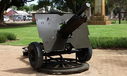 One of the restored guns in Stirling Square, Guildford.