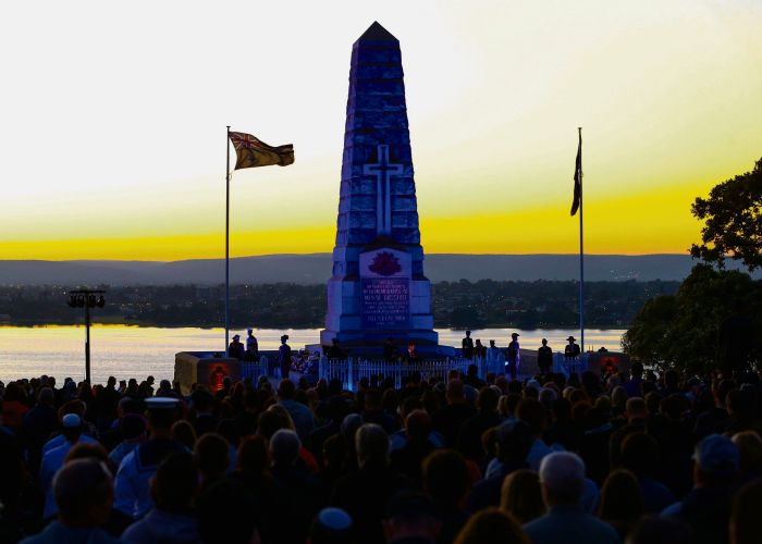 Thousands of people attended the Kings Park dawn service. Picture: Matt Jelonek
