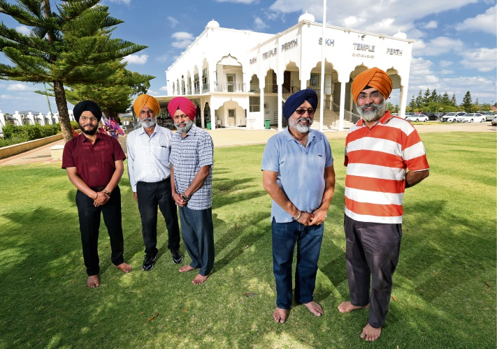 Harbans Singh, Jarnail Singh, Jasbir Singh, Amrit Pal Singh and Tarun Preet Singh at the Sikh Temple in Canning Vale. Picture: David Baylis. www.communitypix.com.au. d492455,