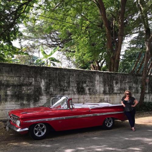 Jacqueline Karam on the vintage car tour