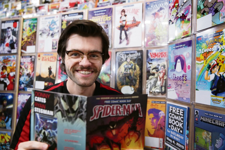 Collector Zone! Comics & Collectables employee Mike Jones. Picture: Martin Kennealey www.communitypix.com.au d492642