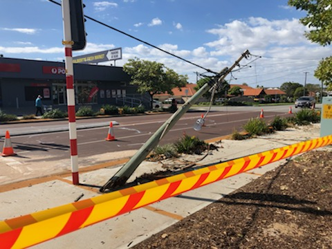 The power pole leans perilously. Picture: Anton La Macchia