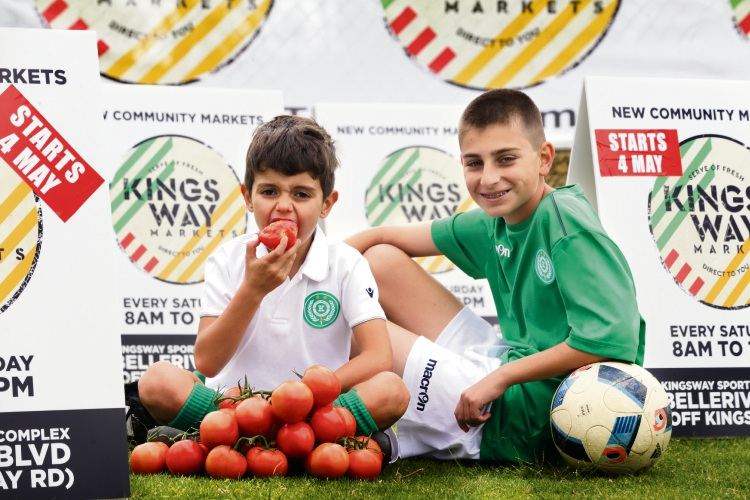 Olympic Kingsway junior soccer players George Trandos (6) and Christopher Dimitrovich (14), both of Mindarie. Pictures: Martin Kennealey www.communitypix.com.au d492554