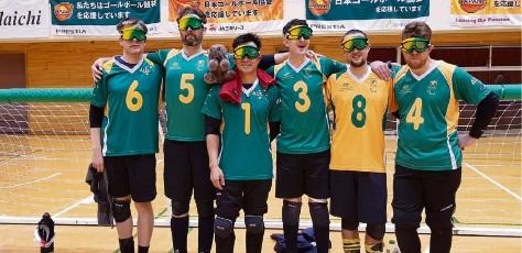 Ben Rowe (far right) with his Australian teammates.