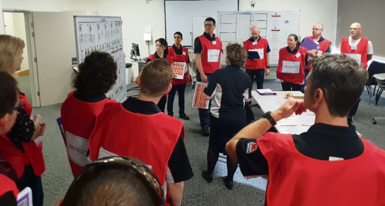 A disaster training exercise at Joondalup Health Campus.